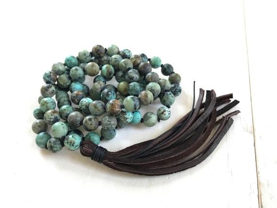 MALA FOR GROWTH - Buddha Mala Beads - Mala Necklace With Leather Tassel - African Turquoise - 108 Bead Mala - Meditation Mala - Yoga Gifts