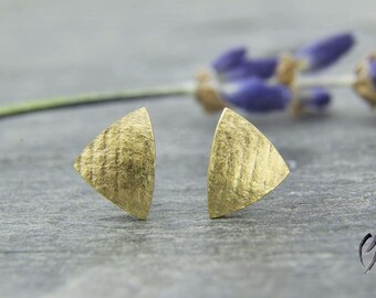 Earrings silver gold plated, triangle linen matte, handmade