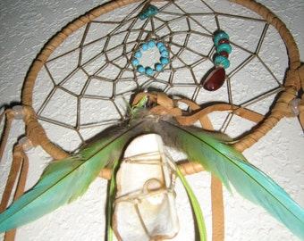 Tropical Paradise Large  Dreamcatcher, the love of the sea with shells, the love of the earth with gems,and the flight of the parro