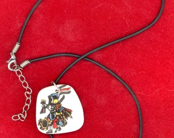 Ceremonial Dancer Porcelain Pendant on Leather Cord Necklace