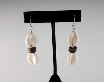 Cowrie Wooden Discs Earrings