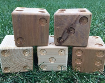 5 premium unpainted cedar yard dice for Yardzee