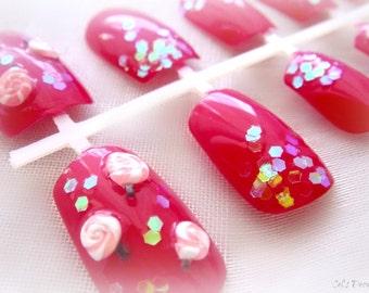 Pink candy nails, kawaii lollipop Japanese nail art, Harajuku fashion