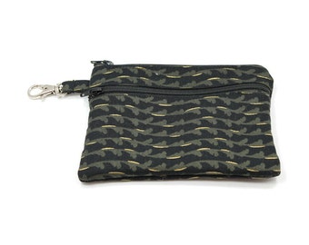 Larger Zippered Wallet Change Purse Gadget Case  Black with Gold Waves 5738