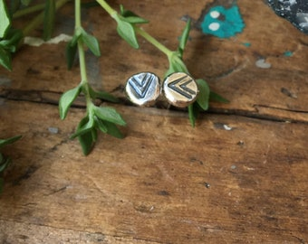Arrow Studs Recycled Sterling Silver Tiny Organic Faceted Post Stud Earrings