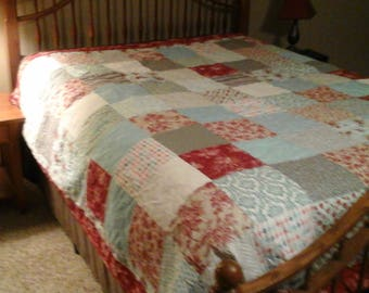 Shabby chic Queen size turquoise , red and gray quilt