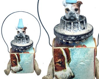 assemblage dog ornament, mixed media art puppy, altered art doll, canine found object sculpture by Elizabeth Rosen