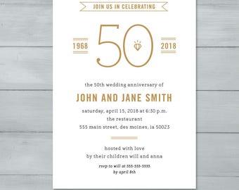 Anniversary Party Invitation  |  Wedding Anniversary Party Invitation  |  Anniversary Invite  |  50th Wedding Anniversary
