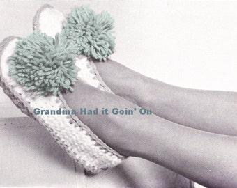 Vintage Pom Pom Crochet Slipper Pattern - Slipper Socks - INSTANT DOWNLOAD Digital PDF Pattern House Slippers Booties - Slippers to Crochet