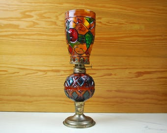 Made in Hong Kong Vintage oil lamp, petrol Lamp, glass and brass | vintage items | Home decor | HongKong | Oil | Lamp | Petrol