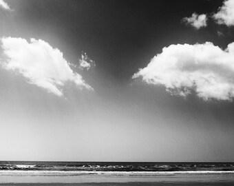 Beach Prints, Beach Photos, Modern Wall Art, Beach Photography, Cloud Photos,  Black and White Photography,  Modern Fine Art Photography,
