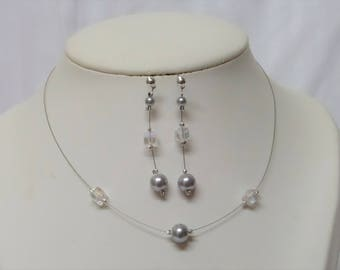 Necklace of wedding and bridal earrings, bridesmaid accessory cube swarovski crystal and silver grey pearls