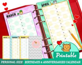PRINTABLE Personal Size Birthdays Anniversaries Calendar Refills Cute Kawaii Kitty Filofax Organizer Planner Instant Download