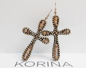 Elegant Cross Earrings - Long Earrings - Modern Earrings - Glass Beads Earrings - Zipper Jewelry