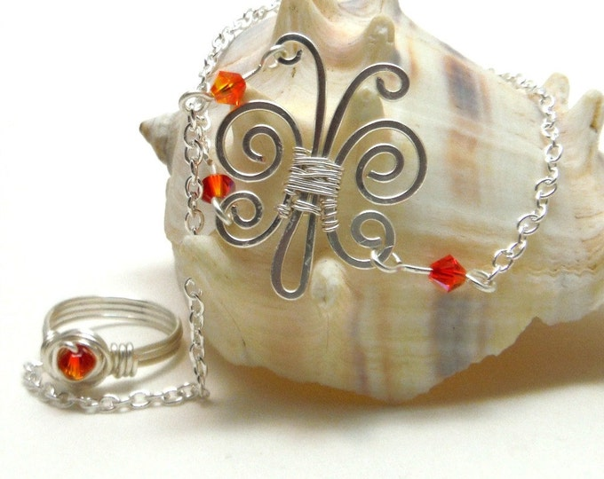 Slave Bracelet Ring with Handmade Spiral Butterfly & Swarovski Crystals CHOOSE YOUR COLOR
