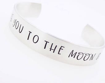Love you to the moon, and back, handstamped , adjustable bracelet, gift for her, daughter, best friend sister,anniversary jewelry silver