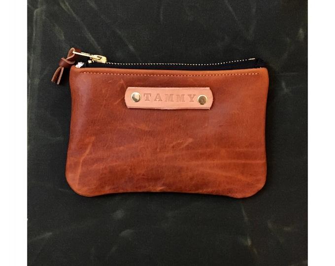 Custom Gift - Cognac Leather zipper wallet