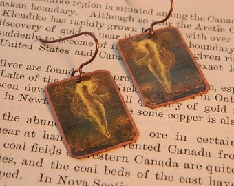 Art earrings Fairy earrings  mixed media jewelry Art jewelry