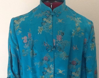 Vintage Asian Kimono Embroidered Dressing Gown