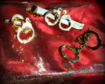 Vintage Handcuff Cuff Links and Tie Clip Set