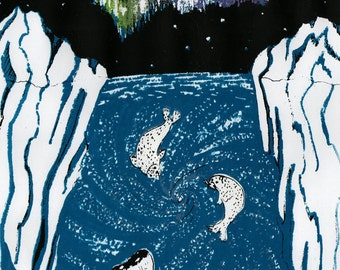 Imaginary Antarctic Screenprint - Glow in the Dark Silkscreen Print with Antarctic Ocean Sceen, Seals, Pygmy Right Whale, Aurora