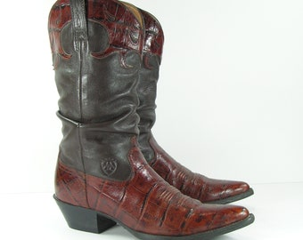 vintage ariat cowboy boots women's 8 M B brown genuine leather slouch alligator print cowgirl