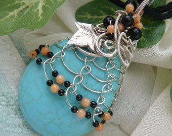 Turquoise Blue Pendant ~ Wirewrapped Magnesite Pendant ~ Wirewrapped Teardrop Pendant ~ Turquoise Magnesite ~ Silver Wirewrapped Pendant
