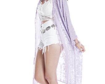 SALE 20% OFF // Gypsetter Brocade Velvet Burnout Beaded Fringe Tassel Kimono - Lavender