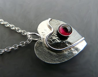 Sterling silver heart necklace with garnet. Garnet heart. Silver heart pendant. Gemstone pendant. Handmade. MADE TO ORDER