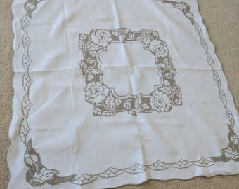 Vintage Square Tablecloth with Cross Stitching