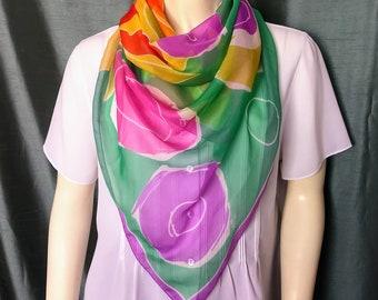 VTG Multicolor Big Scarf/Italian Square Scarf/Modern Floral Pattern Scarf/Spring Silky Scarf/No.409