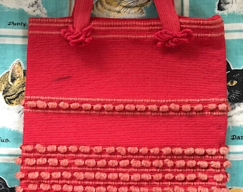 Vintage red Arrowcraft hand woven tote hand bag