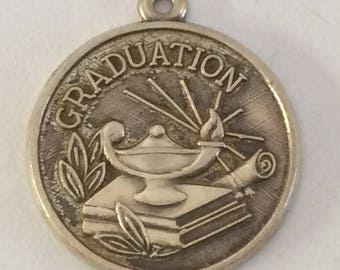 Sterling silver university high school Graduation charm vintage #344 s