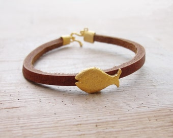 Gold plated Fish Leather Bracelet - Nautical Bracelet Beach Jewelry Leather and Metal