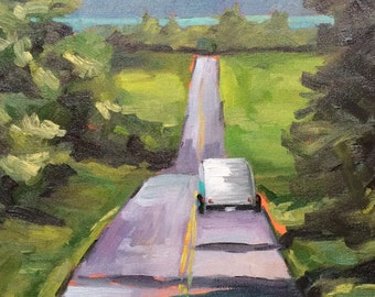 teardrop Trailer • Vintage Camper • Sally on the Move • Original Art • Oil Paintings • Daily Painters • Daily Painting
