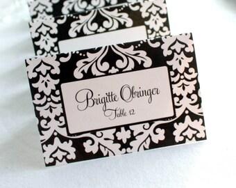 Editable Bold Damask Printable Place Cards
