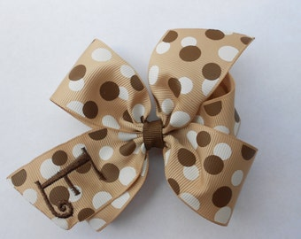 Hair Bow, Personalized Initial, Brown Rustic, Polka dots, Fall School, Uniform Gift, Monogram, Monogrammed, Youth Girls, Toddler Made, Baby