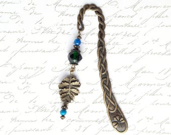 Bookmark bronze metal, medieval style, color green and turquoise