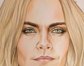 Cara Delevigne original pencil drawing A4 ooak fan-art model Enchantress