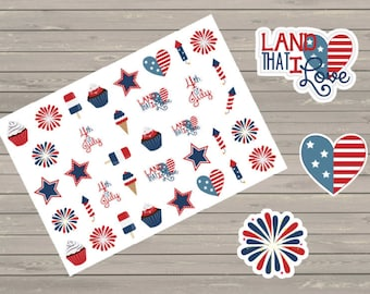 Planner Stickers, July 4th Planner Stickers, Holiday Stickers, Fits Erin Condren Planner, Stickers, Fireworks Stickers