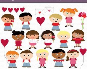 Valentine Kids Digital Art Set Clipart Commercial Use Clip Art INSTANT Download Valentine Clipart Valentines Day Clip Art