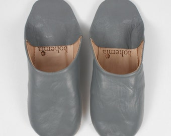 Women's Leather Slippers    Traditional Moroccan Basic Babouche    Hand Dyed With Natural Colour    Slate Grey