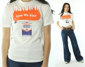 Vintage 80s T-Shirt Gas Oil Advertising Screen Tee Lite My Fire Gulf Short Sleeve White Cotton Hanes 1980s Small S Hipster
