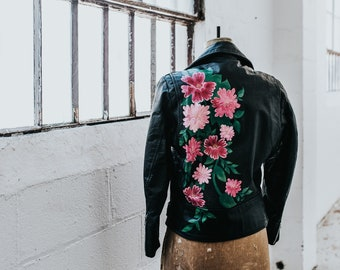 Hand-Painted Vintage Leather Motorcycle Jacket // SMALL