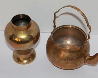 Vintage Brass Ginger Jar and Teapot, Vintage Brass Tea Kettle, Brass Ginger Jar