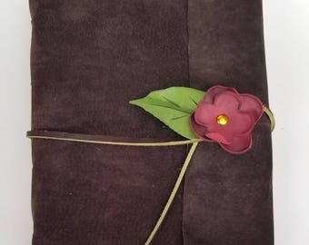 Suede Journal With Red Rose / Floral Wedding Guestbook