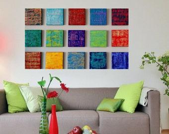 Large Modern Abstract Art - Wood Block Art - Large Textured Art - Wood Wall Art - Abstract Painting - Living Room Art - Wood Wall Sculpture
