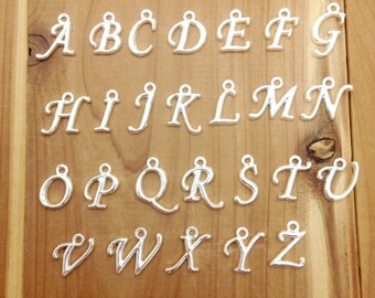 Alphabet Initial Letter Pendant Charms attach to necklace or bracelet  A - Z  (Choose One)