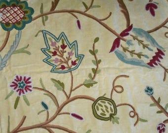 PASARI JAKARA Jacobean Wool Crewel Embroidered Velvet Fabric 10 Yards Buttercream Multi