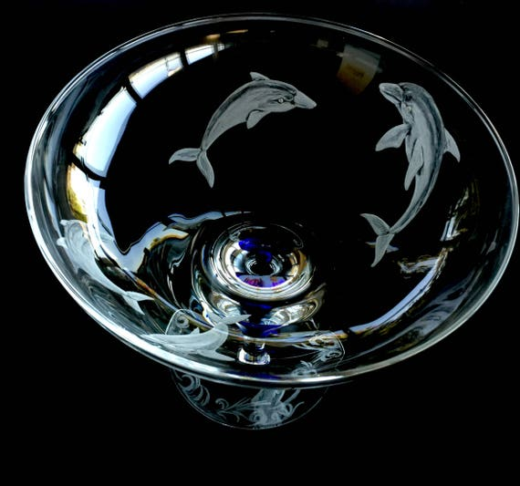 Hand Engraved Footed Bowl, Dolphins. Centerpiece Bowl Dolphins, Home Decor, Orrefors Intermezzo Bowl, Housewarming gifts